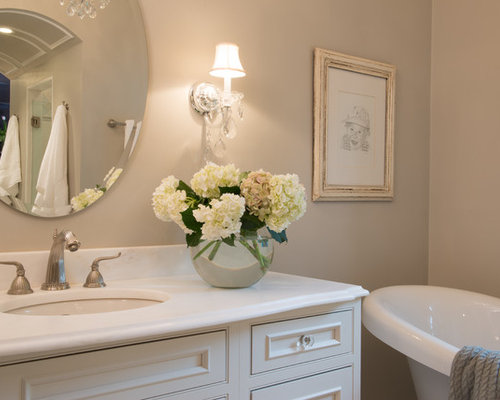White master bathroom with his and hers vanities st louis mo for Master bathroom his and hers