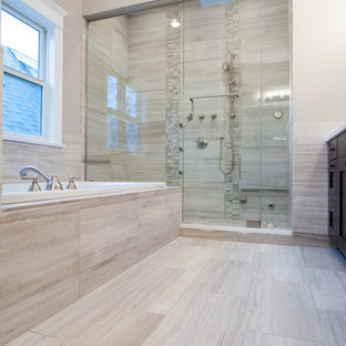 Inspiration for a mid-sized contemporary master beige tile and porcelain tile porcelain floor drop-in bathtub remodel in Chicago with beige walls and a hinged shower door