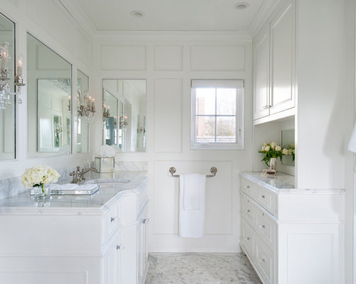 White master bathroom houzz for All white bathrooms ideas