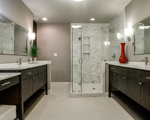 example of a trendy white tile corner shower design in dallas with flatpanel cabinets