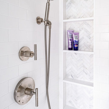 White Subway Tile Shower with 4-Tired Niche