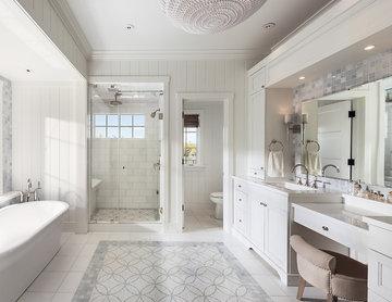 White Tile Custom Bath with Tub