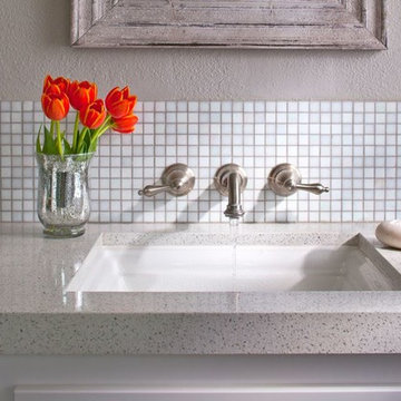 White traditional bathroom with glass mosaics and counter