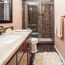 Transitional Bathroom by Keechi Creek Builders