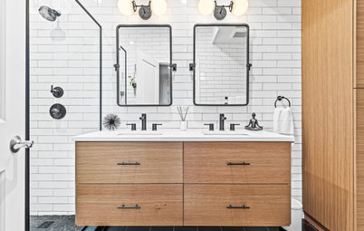 Bathroom of the Week: Black, White and Wood Create Sleek Style