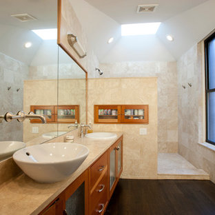 Example of a transitional bathroom design in Chicago with a vessel sink