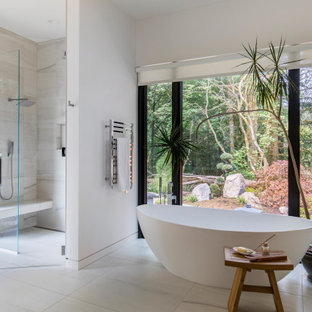 Large trendy master gray tile porcelain tile, white floor and double-sink bathroom photo in Portland with flat-panel cabinets, light wood cabinets, white walls, an undermount sink, quartz countertops, a hinged shower door, white countertops and a floating vanity