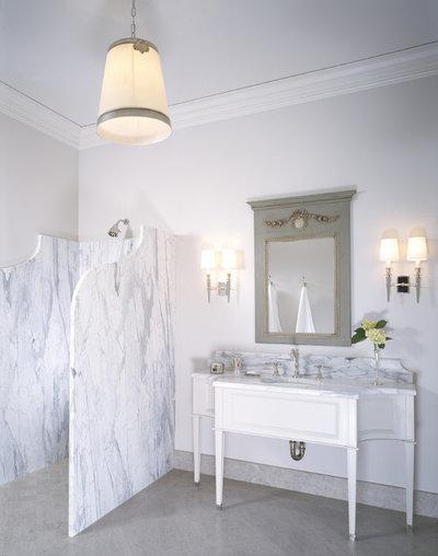 Transitional Bathroom by Studio William Hefner