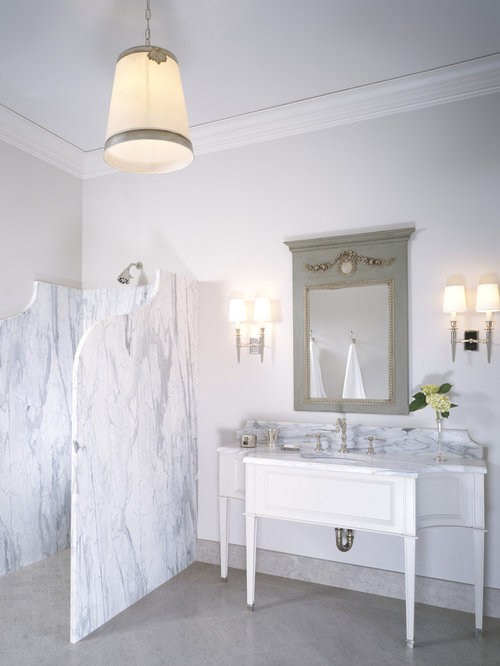 Lovely Transitional Bathroom Photo In Los Angeles With A Console Sink