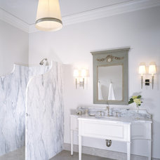 Transitional Bathroom by Studio William Hefner