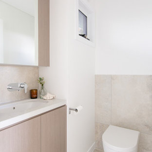 Design Ideas For A Small Contemporary Bathroom In Sydney With Light Wood  Cabinets, An Open