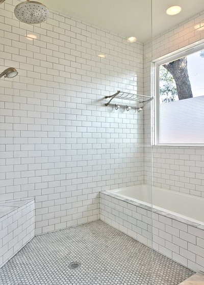 Transitional Bathroom by Avenue B Development