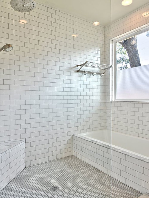 White Tile Bathroom Gray Grout white subway tile grey grout | houzz