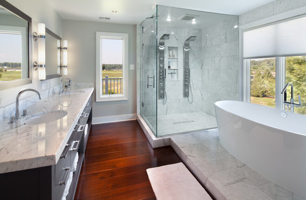 Transitional Bathroom by Morgan Howarth Photography