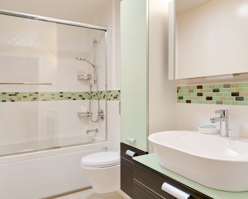 Trendy Bathroom Photo In San Francisco With Mosaic Tile Green Tile And White Tile