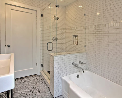 Bathroom Design Ideas, Remodels & Photos with a Corner Tub and Recessed-Panel Cabinets