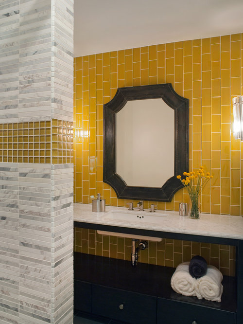Trendy Mosaic Tile And Yellow Tile Bathroom Photo In San Francisco With  Marble Countertops, Yellow