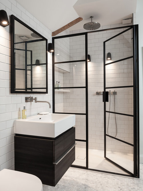 Trendy 3/4 subway tile mosaic tile floor alcove shower photo in Kent with  flat