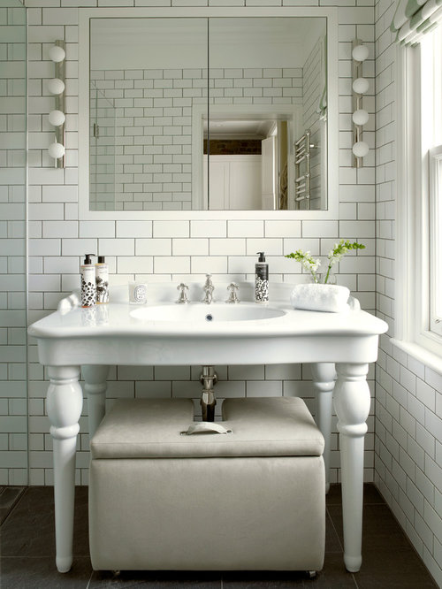 Victorian Bathroom Idea In London With A Console Sink White Tile And Subway Tile