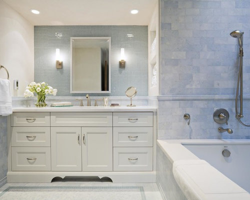 Traditional Blue Tile And Mosaic Tile Alcove Bathtub Idea In San Francisco  With An Undermount Sink Part 76