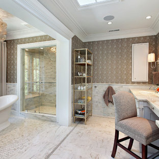 Inspiration for a transitional freestanding bathtub remodel in Chicago