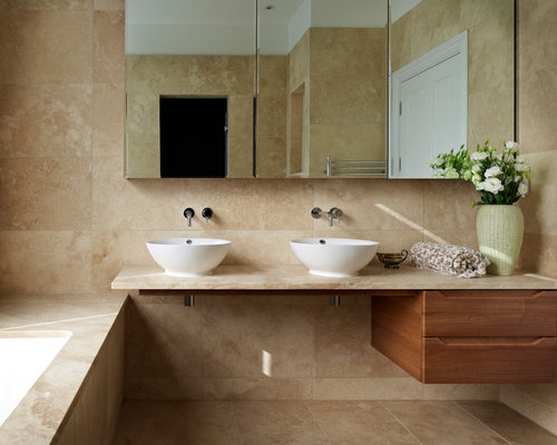 This Is An Example Of A Medium Sized Modern Bathroom In London With  Freestanding Cabinets,