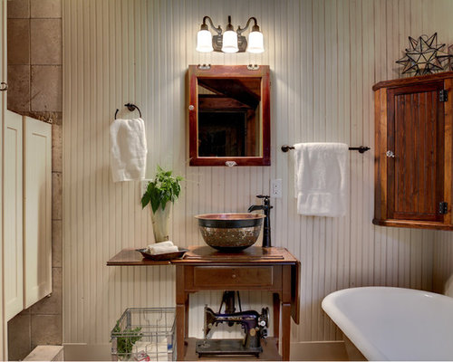 Inspiration For A Rustic Bathroom Remodel In Minneapolis With A Vessel Sink