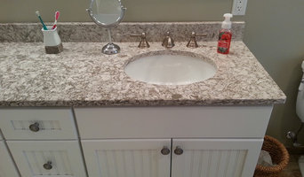 Wood look and Shower pebbles bathroom.