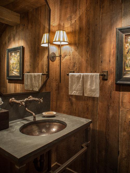 Salle de bain rustique photos et id es d co de salles de for Carrelage salle de bain rustique