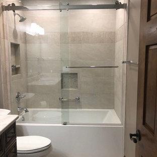 75 beautiful slate tile bathroom with brown cabinets