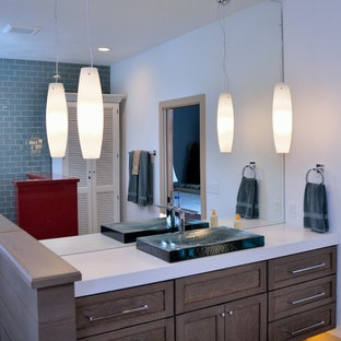 Mid-sized transitional 3/4 blue tile and subway tile bathroom photo in Detroit with shaker cabinets, dark wood cabinets, white walls and a vessel sink