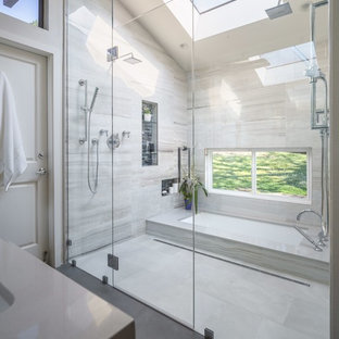 Inspiration for a large modern master multicolored tile and porcelain tile porcelain tile walk-in shower remodel in San Francisco with an undermount sink, medium tone wood cabinets, quartz countertops, an undermount tub, a one-piece toilet, gray walls and flat-panel cabinets