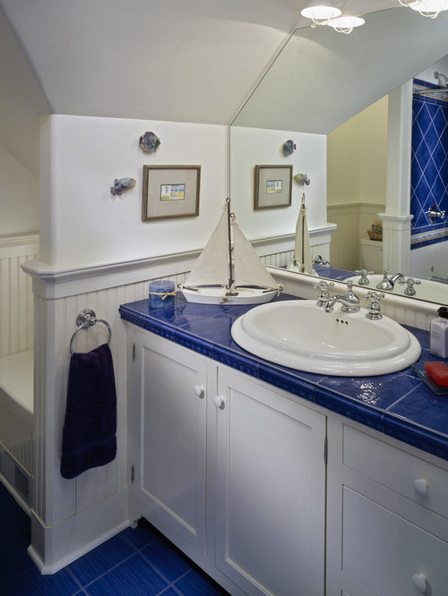 Elegant Blue Tile Blue Floor Tub/shower Combo Photo In Boston With A Drop