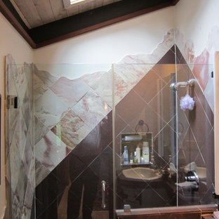 Inspiration for a mid-sized zen 3/4 multicolored tile and porcelain tile ceramic floor double shower remodel in San Francisco with a drop-in sink, tile countertops, a one-piece toilet, white walls and a hinged shower door