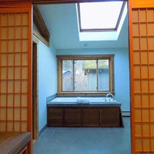ニューヨークの中サイズのアジアンスタイルのおしゃれなマスターバスルーム (ドロップイン型浴槽、一体型トイレ、グレーのタイル、白い壁、スレートの床、オーバーカウンターシンク、ソープストーンの洗面台) の写真