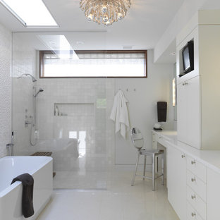Contemporary bathroom in Baltimore with a freestanding tub, an open shower and an open shower.