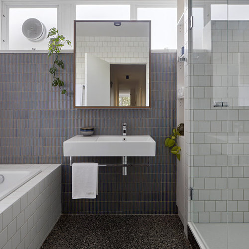 Small Contemporary Master Bathroom In Melbourne With A Drop In Tub, Ceramic  Tile,