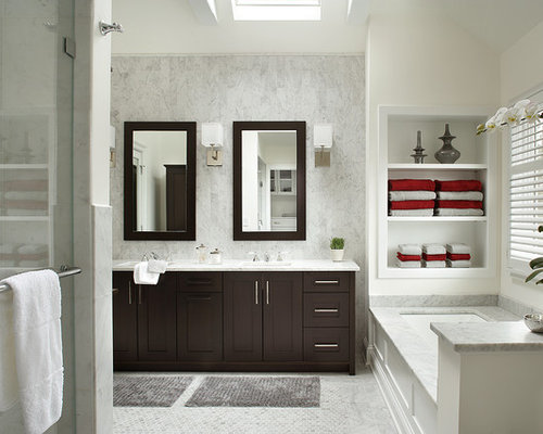 Example Of A Transitional White Tile Bathroom Design In New York With  Shaker Cabinets, Dark