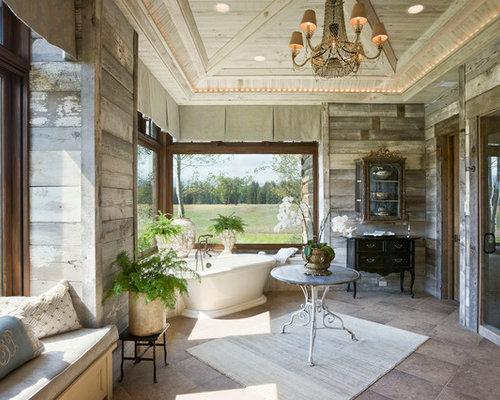 Shabby chic style corner gas fireplace home design photos decor ideas - Salle de bain style romantique ...