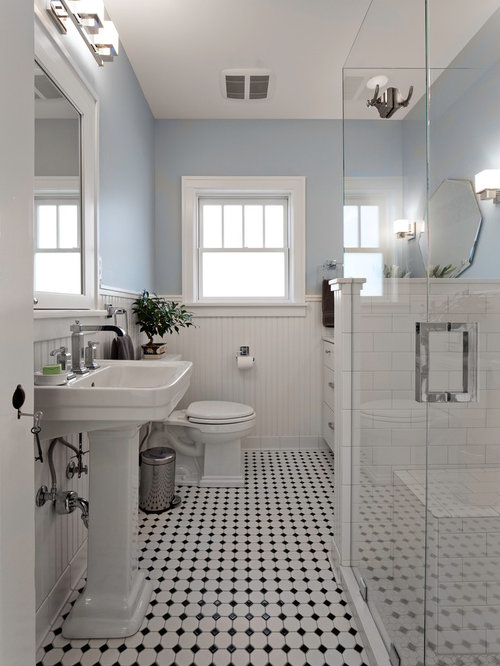 in Other with a pedestal sink, flat-panel cabinets, white cabinets ...
