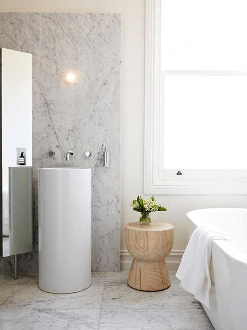 Inspiration for a mid-sized contemporary marble tile and gray tile marble floor and white & Bathroom Stool | Houzz islam-shia.org