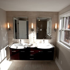 Transitional Bathroom by Orfield Remodeling, Inc