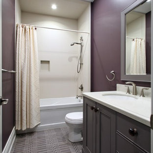 Bathroom Mid Sized Transitional 3 4 Gray Tile Idea In Toronto With