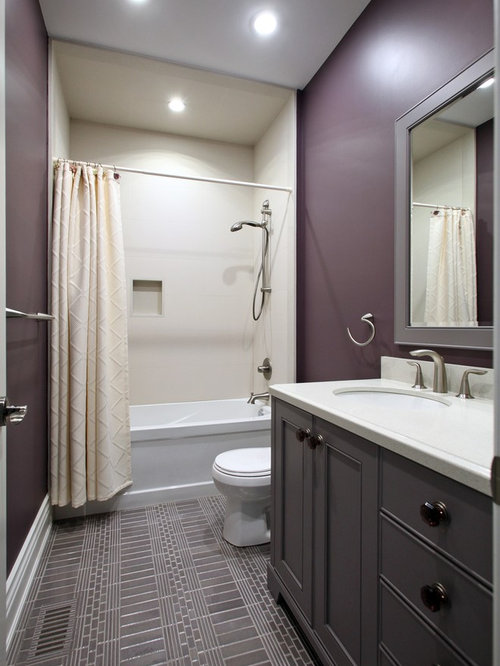 Elegant Bathroom   Mid Sized Transitional 3/4 Gray Tile Bathroom Idea In Toronto  With