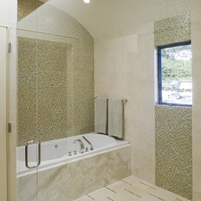Inspiration for a contemporary mosaic tile bathroom remodel in San Francisco