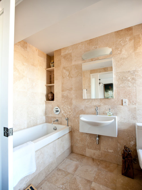 Example Of A Classic Travertine Tile Bathroom Design In New York With A  Wall Mount Part 64