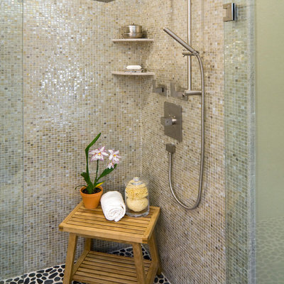 Inspiration for a mid-sized contemporary master gray tile and mosaic tile pebble tile floor doorless shower remodel in San Francisco