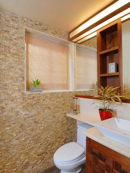 Salle de bain contemporaine avec du carrelage en pierre for Carrelage en pierre calcaire