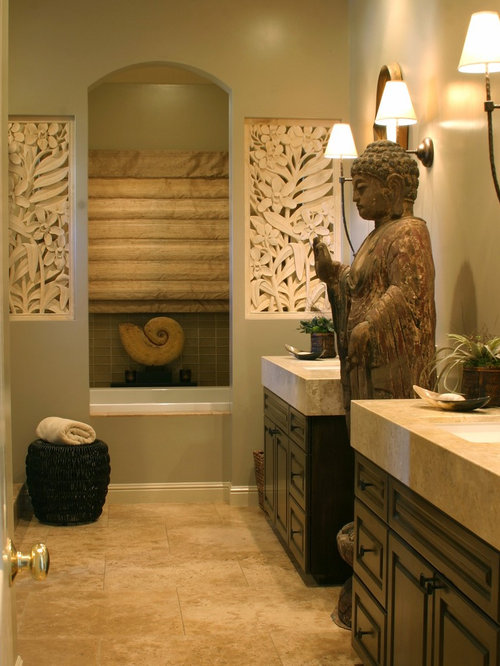 Zen Bathroom Idea In San Francisco With Limestone Countertops And An  Undermount Sink