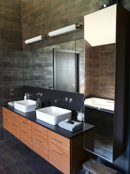 Modern bathroom vanity houzz for Modern bathroom cabinets ideas